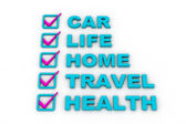 Health Insurance, Travel Insurance, Home Insurance, Life Insurance — Stock Photo