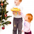 Royalty-Free Stock Photo: Children decorate a new-year tree