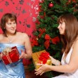 Two young women with gifts — Stock Photo #6865587