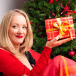 Beautiful woman with a Christmas gift — Stock Photo #7074290