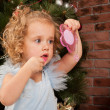 Little blonde girl with lipstick and mirror - Stockfoto