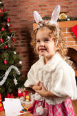Preaty bambina a natale — Foto Stock