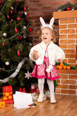 Preaty little girl at christmas time — Stock Photo