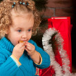 Little girl near Christmas tree - Foto de Stock