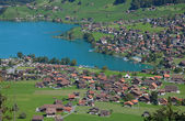 Aerial view of lake Lungernsee — Stock Photo