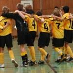 Fussball Jugendmannschaft jubelt, Rückansicht — Stock Photo