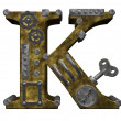 Steampunk letter k - Stock Photo