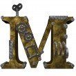 Stock Photo: Steampunk letter m