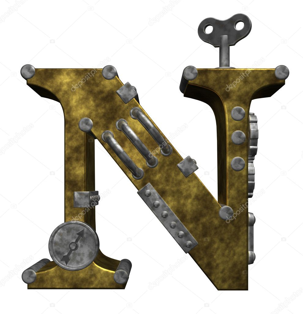 Steampunk letter n on white background - 3d illustration  Stock Photo #6801118