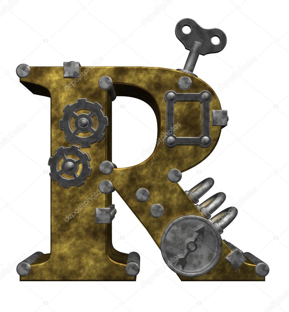 Steampunk letter r on white background - 3d illustration  Stock Photo #6819204