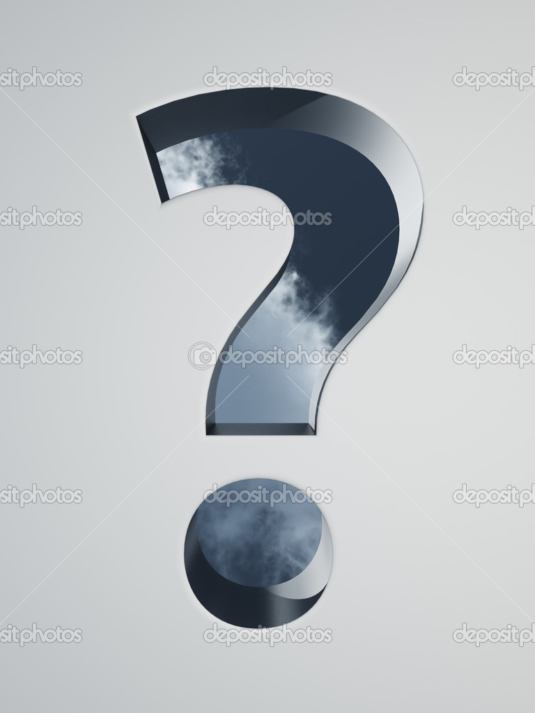 Question mark hole with clouds background - 3d illustration — Stock Photo #6822626