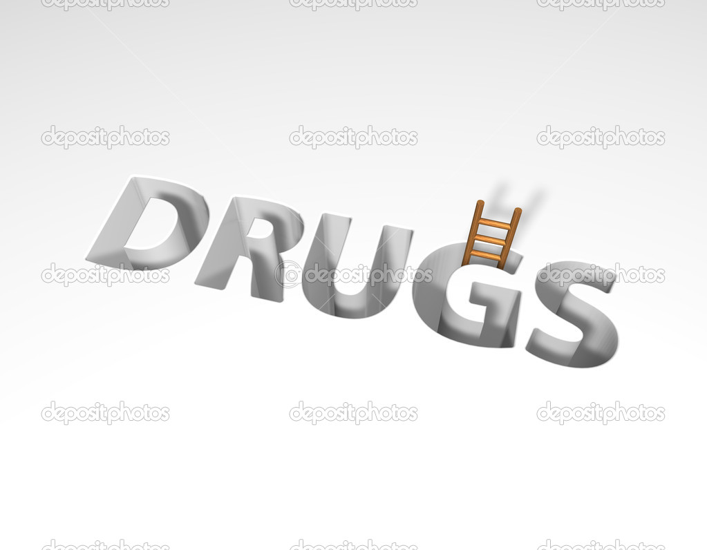The word drugs and a ladder - 3d illustration  Stock Photo #6837905