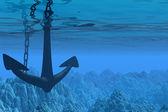 Underwater scene with anchor — Stock Photo