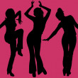 Five dancing women silhouettes on purple background — Stock Vector