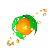 Orange Globe RSS — Stock Photo