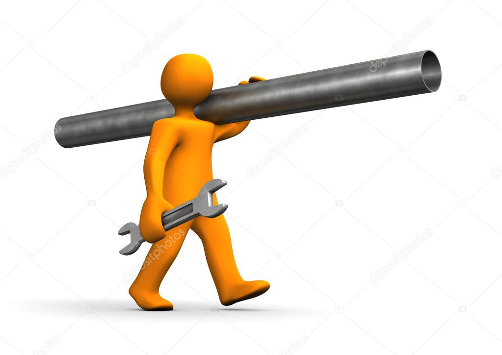Orange cartoon, plumber, go with iron pipe. — Stock Photo #7903672