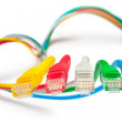 Five patch cords. Concept - main network connection. — Stock Photo