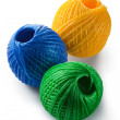 Acrylic yarn clews - green, blue and yellow - Stock Photo