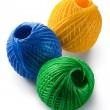 Acrylic yarn clews - green, blue and yellow — Stok fotoğraf