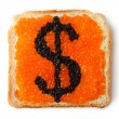 Monetary dollar sandwich with caviar — Stock Photo
