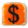 Royalty-Free Stock Photo: Monetary dollar sandwich with caviar