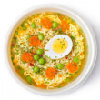 Cup of instant noodles with vegetables. Top view. — Stock Photo #6841512