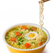 Instant noodles with chopsticks — Stock Photo