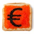 Monetary Euro sandwich with caviar — Stock Photo #6841564