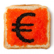 Monetary Euro sandwich with caviar — Stock Photo