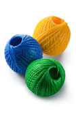 Acrylic yarn clews - green, blue and yellow — Stock Photo