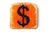 Monetary dollar sandwich with caviar — Stock Photo