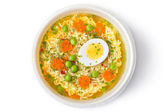 Cup of instant noodles with vegetables. Top view. — Stock Photo