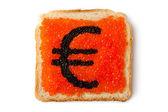 Monetary Euro sandwich with caviar — Stock Photo