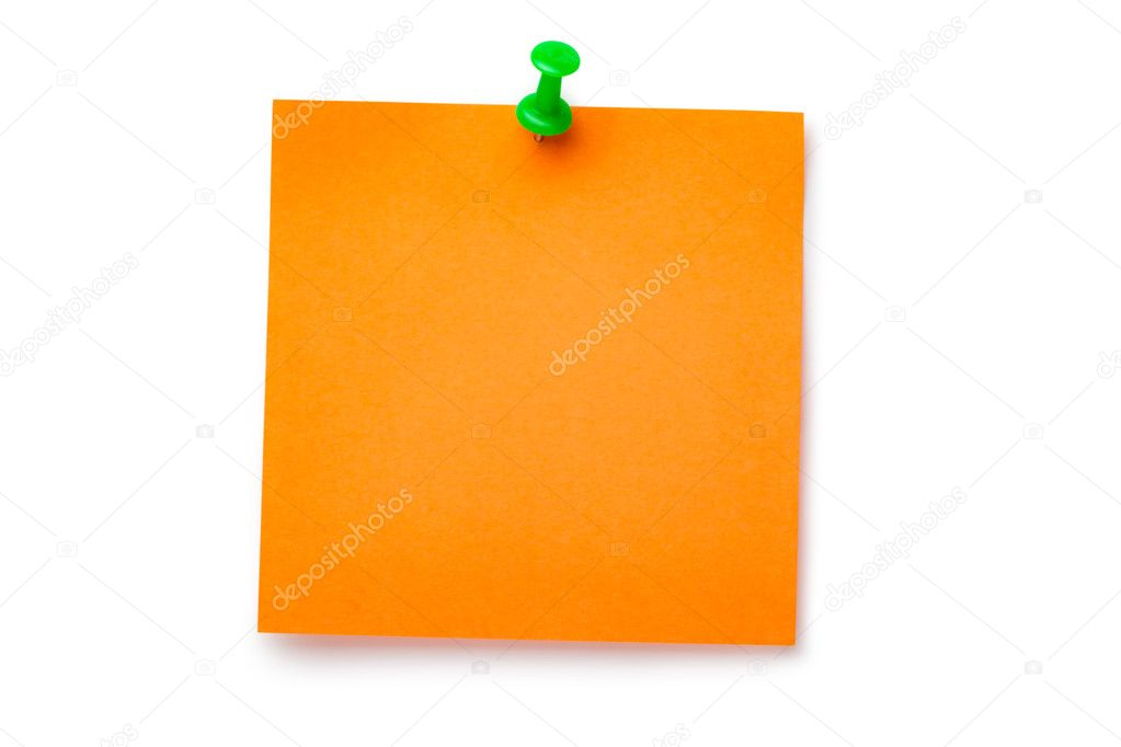 Orange sticker on green thumbtack. Isolated on white. — Stock Photo #6840545