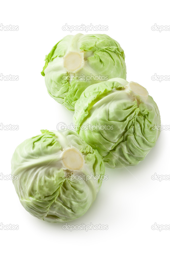 Three white cabbages. Isolated on white. — Stock Photo #6840653