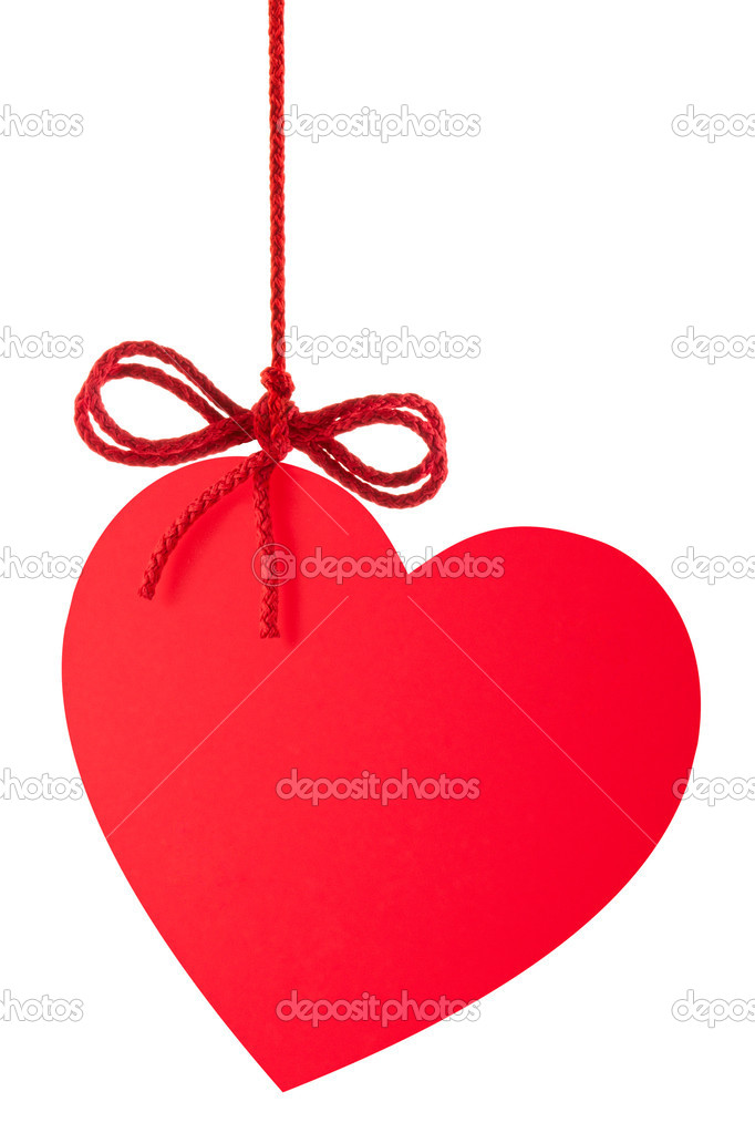 Heart-Valentine with a bow hanging on a rope. Isolated on white. — Stock Photo #6841342