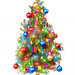 Decorated Christmas tree with luminous garland — Stock Photo #7564741