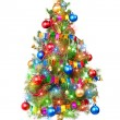 Decorated Christmas tree with luminous garland — Stock Photo