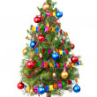 Decorated Christmas tree with unplugged garland — Stock Photo