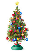 Decorated Christmas tree with unplugged garland — Stockfoto