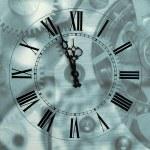 oude uur met dacht pijlen op mechanisme wazig achtergrond — Stockfoto