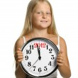 The girl hold in hands a big clock with figures 2012 — Stock Photo #6772002