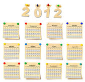 Calendar on set note 2012 — Stock Photo