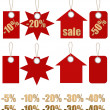 Set of labels on ropes with percent discounts. Part 1 — Foto de Stock