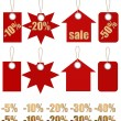 Set of labels on ropes with percent discounts. Part 1 — Stock Photo