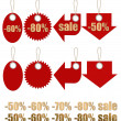 Set of labels on ropes with percent discounts. Part 2 - Stock Photo