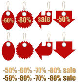 Set of labels on ropes with percent discounts. Part 2 — Stock Photo