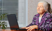 The elderly woman in front of the laptop — Stock Photo