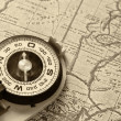 Stock Photo: Compass and old map