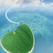 Island in the form of heart and the flying plane — Stock Photo